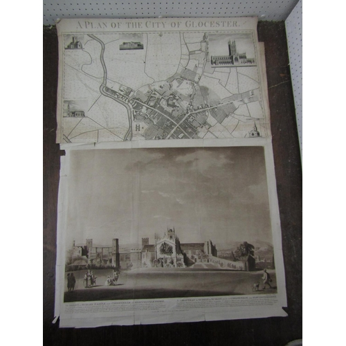 240 - A late 18th century black and white engraved plan of the city of Gloucester, by R Hall and T Pinnell...