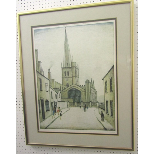 503 - Laurence Stephen Lowry (1887 - 1976, British) - 'Burford Church', signed, limited 752/850, colour li...