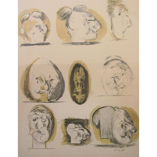 505 - Graham Sutherland (1903 - 1980, British) - 9 studies of grotesque heads, signed, limited 68/70, lith...