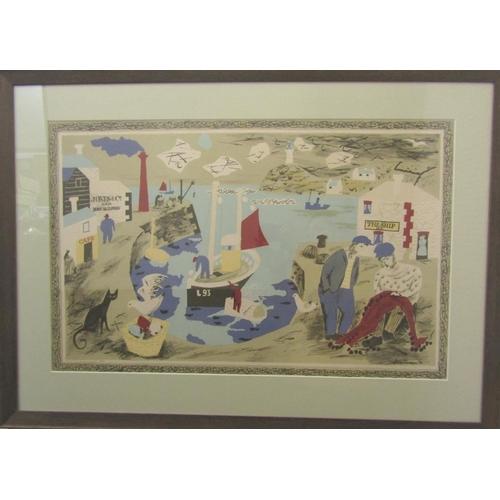 526 - Julian Trevelyan (1910 - 1988, British) - 'Harbour', 1946 lithograph school print, 50 x 76cm, framed...