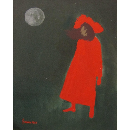 527 - Mary Fedden (1950 - 2012, British) - 'Girl in Red', signed and dated 1983, inscribed verso, watercol...