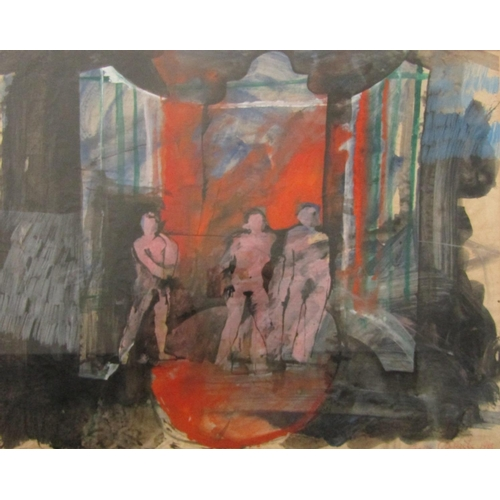 532 - Franco Colavecchia (20th century) - An industrial scene with three figures (probably a set design), ...