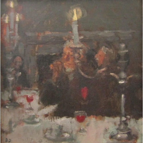 533 - Bernard Dunstan (1920-2017) - 'Dinner At The R.A.', monogrammed BD, oil on board, The Patricia Wells...