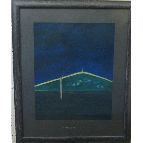 541 - Craigie Aitchison (1926-2009) - 'Sheep in the moonlight', signed and dated 1999, limited 15/75, scre...