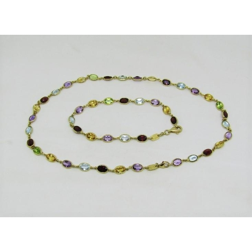 Italian 18ct multi gem set necklace and matched bracelet, can also be worn as a longer necklace, clasps stamped Le-Gi, 18.7g total (2)