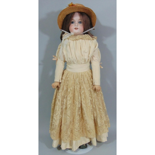 1 - Early 20th century Armand Marseille doll  with stand, mold 370  with bisque shoulder-head, kid body ...