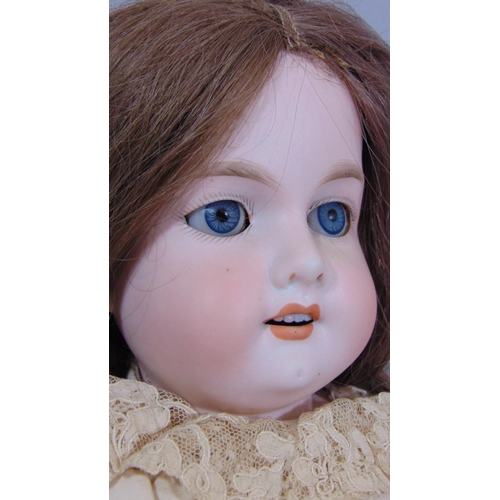 1 - Early 20th century Armand Marseille doll  with stand, mould 370  with bisque shoulder-head, kid body...