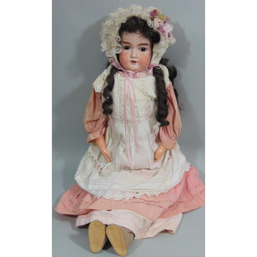 11 - Armand Marseille doll mould 370 with bisque shoulder-head, jointed limbs with kid trunk and upper le...