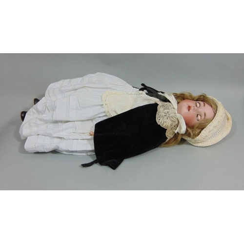 13 - Kammer & Rheinhardt bisque socket head doll with jointed composite body, blue sleeping eyes with sid...