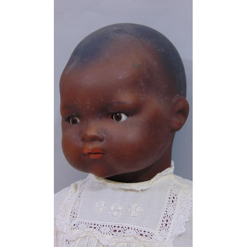 16 - Armand Marseille black Dream Baby doll with closing brown eyes, closed mouth, period clothes, marked...