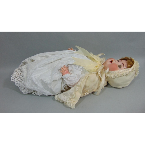 21 - Heubach Koppelsdorf  bisque socket head baby doll mold 300-7 with sleeping blue glass eyes, open mou...