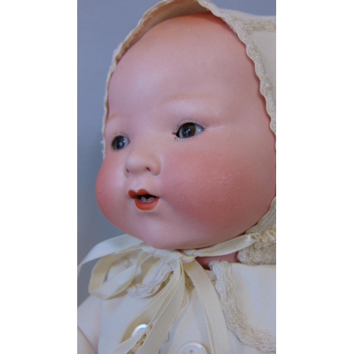 26 - 2 German bisque head baby dolls, both with composition bodies and bent limbs; a 1920's Dream Baby by...