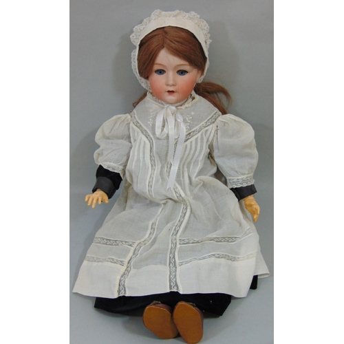 30 - Early 20th century Gebruder Heubach bisque head doll with jointed composition body, fixed blue eyes,...