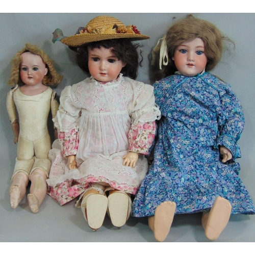 33 - 3 bisque head dolls by Armand Marseille, two have jointed composition bodies, mould 390: first doll ...