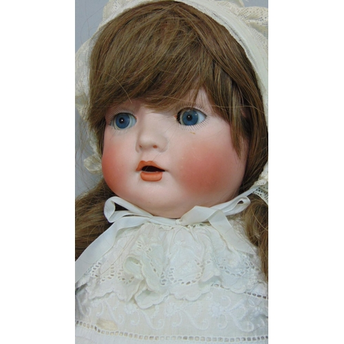 38 - C1919 Bisque head baby doll by Bahr & Pröschild with composition body, bent limbs, closing blue eyes...