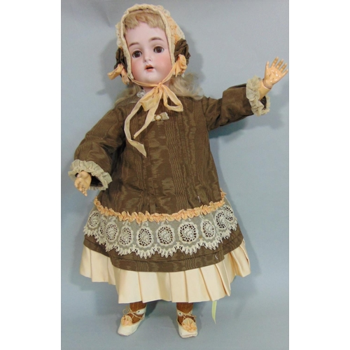 39 - Bisque head doll by Kammer & Rheinhardt with composition jointed body, sleeping brown eyes, pierced ...