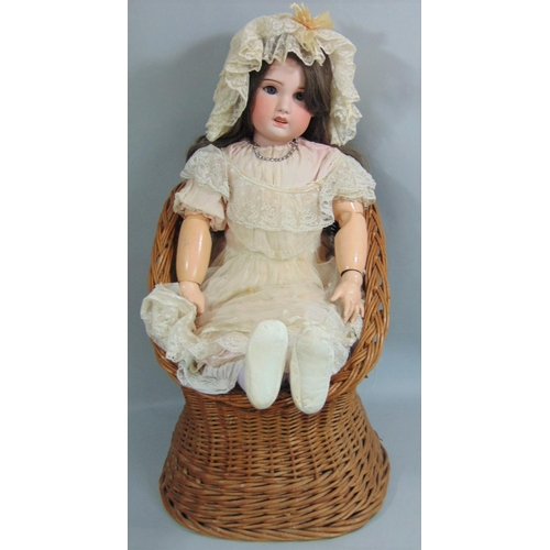 4 - Early 20th century SFBJ  bisque socket head doll, 82cm tall, feathered brows, brown eyes, open mouth...