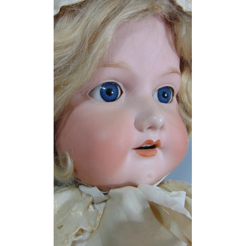7 - 1920's Armand Marseille large doll with stand, mould 390 with bisque socket head and composition bod...