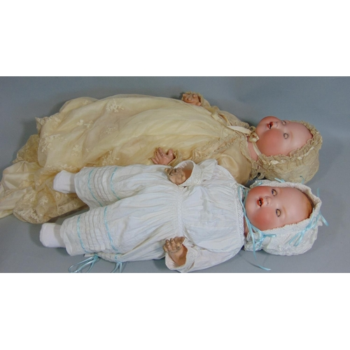 8 - 2 Armand Marseille Dream Babies both with bisque socket heads on composition bodies with bent limbs,...