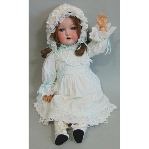 43 - A CM Bergmann Waltershausen bisque headed doll, having sleeping blue eyes, open mouth with top teeth...