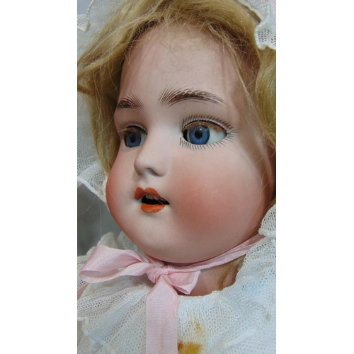 45 - 2 German bisque socket head dolls with jointed composition bodies, both with sleeping blue eyes and ...