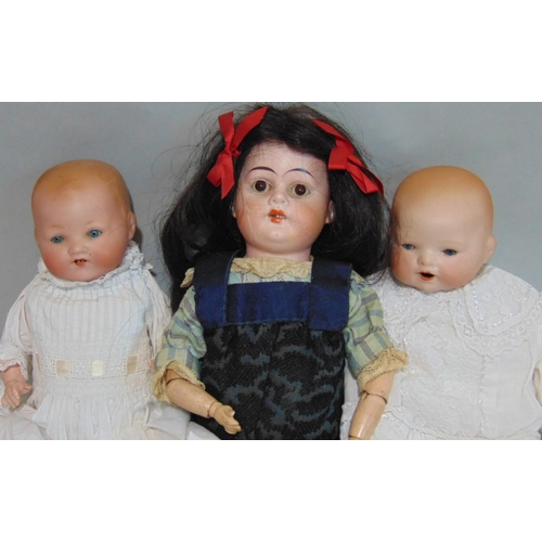48 - 3 small German dolls including a shoulder head doll with fixed brown eyes, wooden arms and cloth bod...