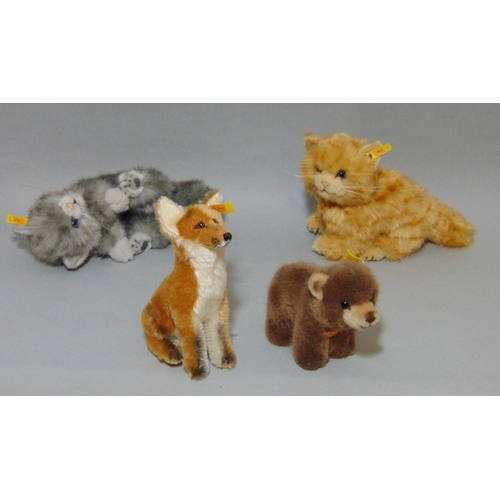 52 - 5 Steiff toys: 'Fuchs' sitting fox 33438, 18cm tall, 'Browny' bear 1444/12, 'Possy' the squirrel 146...