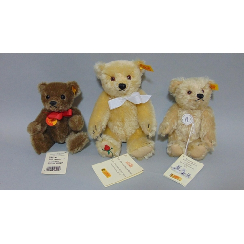53 - 9 small Steiff teddy bears, all with pin in ear, includes 'Original' range Clown 29110, Millenium be...