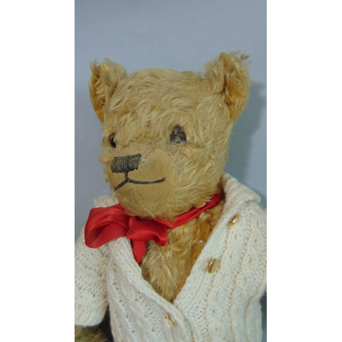 55 - 2 old Teddy Bears both with glass eyes and stitched noses; largest 75cm tall by Chad Valley  circa 1...
