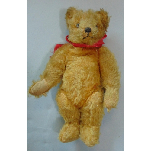 56 - Small 1930's teddy bear 'A Farnell Alpha toy' with golden plush fur and jointed body, pronounced nos...