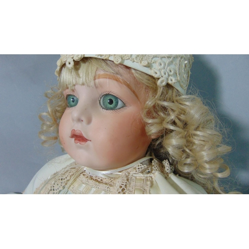 59 - 3 English reproduction bisque head dolls in period clothes including 2 tall dolls (75 and 80cm tall)...