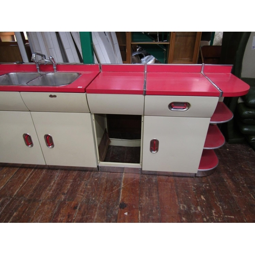 735 - Good quality early 1950s aluminium and Formica English Rose kitchen comprising three base units, to ...