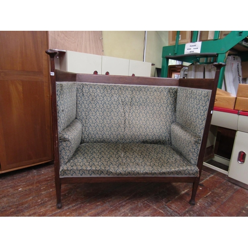 753 - Arts and crafts high back settle by Walter Cave with lobed quadruped finials stuff-over back and sea...
