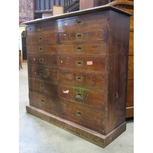 A late Victorian mahogany chest fitted with an arrangement of thirteen drawers, with brass flush fitting handles, set on a plinth (af) originally enclosed by two doors, 108cm wide x 37cm deep x 101cm high