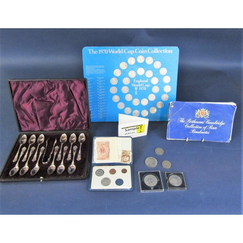 Cased set of 12 silver plated pattern teaspoons and tongs, collection of 1970 world cup 'coins' by Esso, a number of bank notes ad other sundry coinage