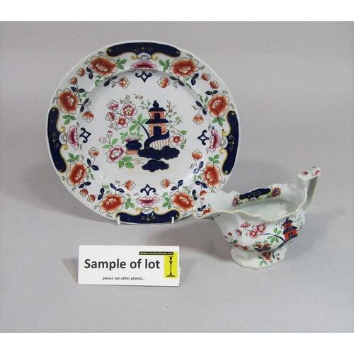 1001 - A collection of 19th century Real Stone China dinnerwares with chinoiserie style decoration comprisi...