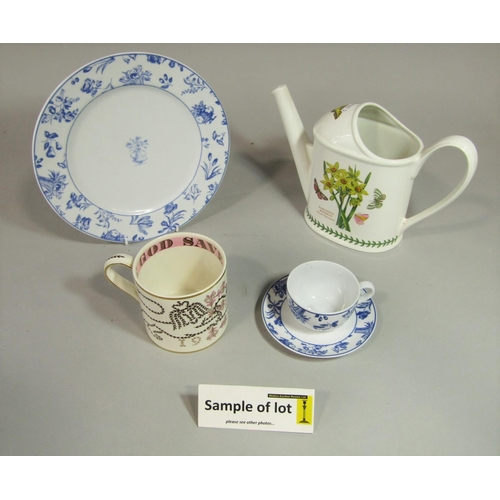 1002 - A collection of Portuguese blue and white printed dinner and teawares with floral detail including o...
