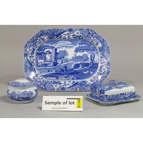 1015 - A collection of Copeland Spode blue and white Italian pattern printed wares comprising a pair of squ...