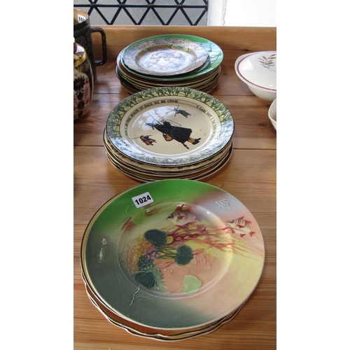 1024 - A collection of mainly Royal Doulton decorative wall plates including The Old Wife in Australia, Isa...