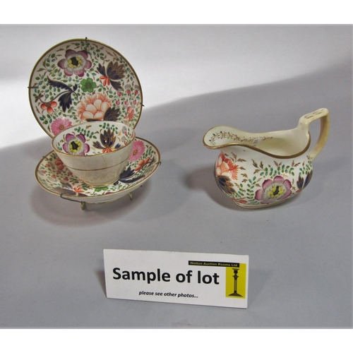 1028 - A collection of early 19th century teawares with painted and lustred chinoiserie style floral decora...
