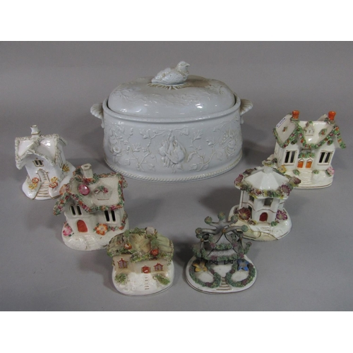 1029 - A Copeland Spode Alenite ovenware game tureen and cover with relief moulded game bird, agricultural ...