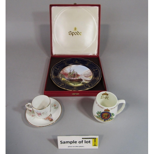 1032 - A collection of royal commemorative wares including boxed Royal Crown Derby heart shaped trinket box...