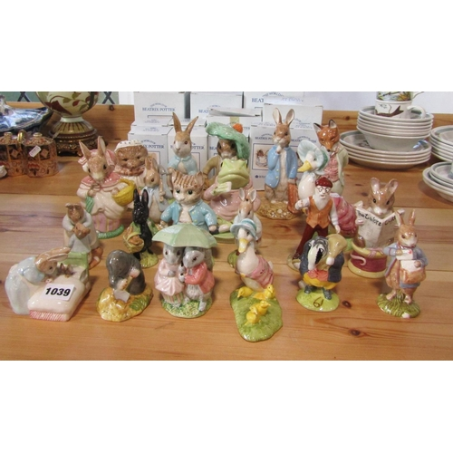 1039 - A collection of seventeen Royal Albert Beatrix Potter figures, 15 with boxes, together with four Bes...