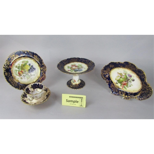 1042 - A collection of Hammersley dessert wares with printed fruit decoration within a blue and gilt border...