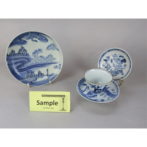 1059 - An interesting collection of 18th and 19th century blue and white oriental ceramics including a dish...