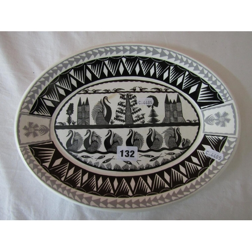 Scottie Wilson for Royal Worcester Crown ware, ceramic oval platter, with geometric decoration of swans and fish, 33cm long
