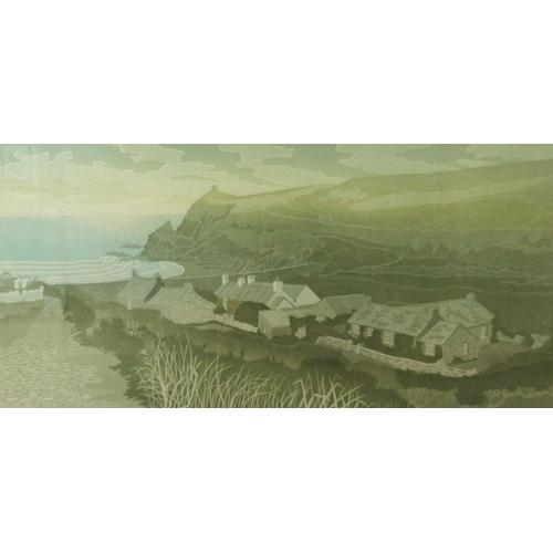 585 - Bernard Green (1931-1998) - 'Abereiddy, Late Summer', singed, limited 26/80 linocut print, 34 x 71cm...