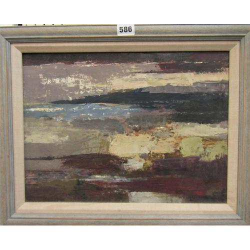 586 - Robert Sadler (1909-20010 - 'Coastal Landscape', unsigned, acrylic on board, inscribed Studio Exhibi...