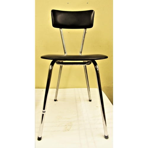 785 - Pair of chrome framed black leatherette diner chairs (2)...