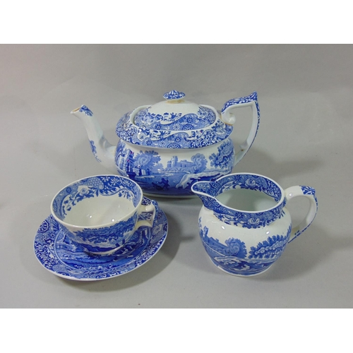1034 - A collection of Copeland Spode blue and white printed Italian pattern wares comprising square shaped...